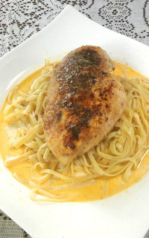 Lighter Chicken Lazone and Linguine - Such simple ingredients everyone has on hand adds up to such great flavor. No one has to know how simple and quick it is.