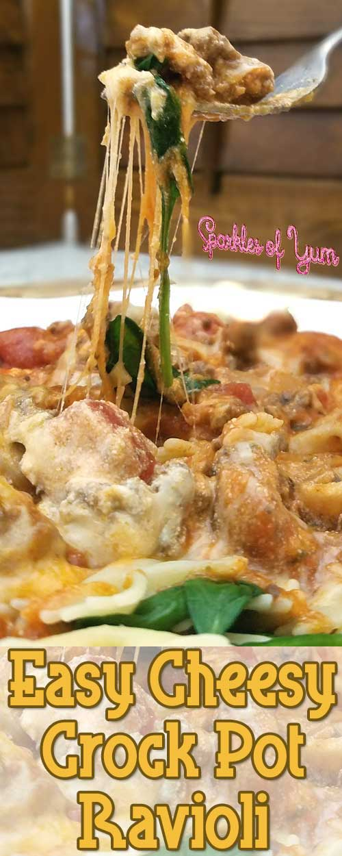This Easy Cheesy Crock Pot Ravioli is what we call a stick to your ribs dinner, no one will walk away hungry. Especially when it tastes so darn good that you don\'t want to stop eating. #pasta #slowcooker #dinnerideas