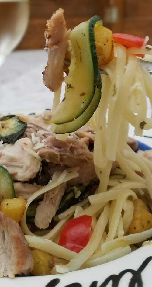 Pan Roasted Vegetables Chicken and Pasta