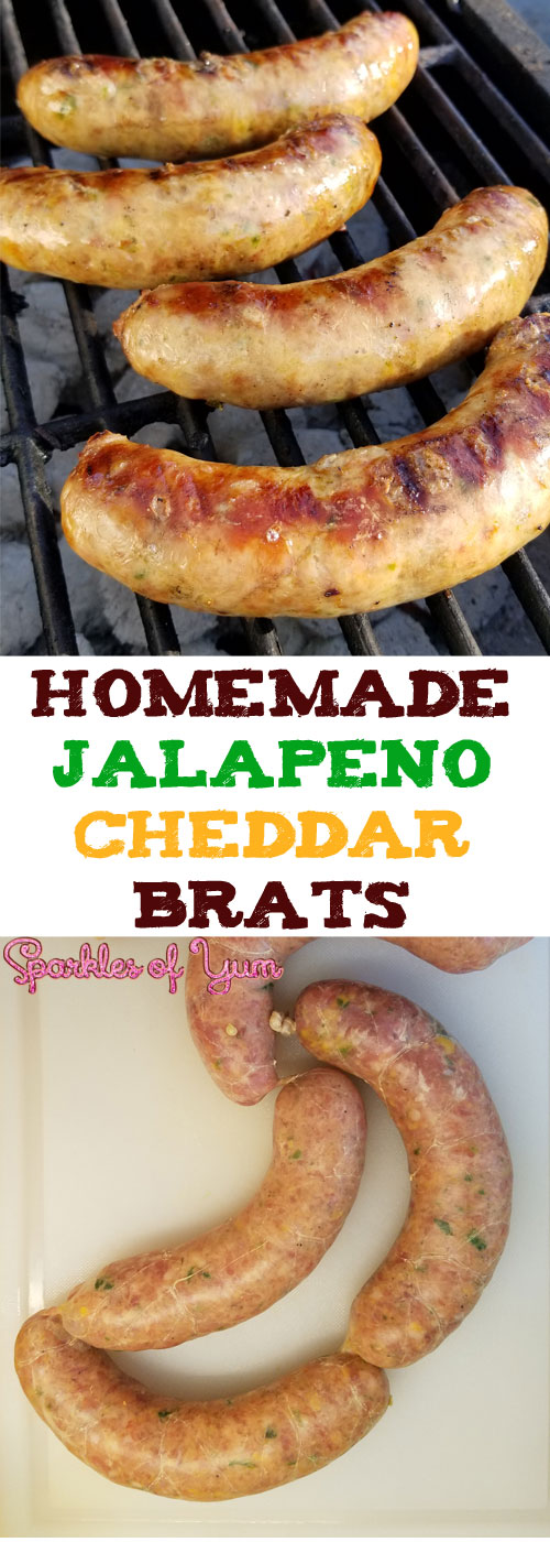 These Homemade Jalapeno Cheddar Brats are super-scrumptious! From that snap of the casing, the juiciness of the brat, how all the flavors come together, and the oh so good cheesy bits inside. #brats #grilling #pork #sausage