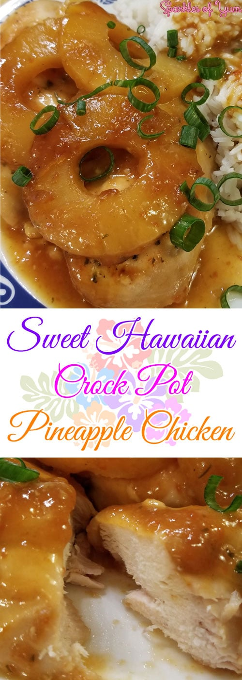 Talk about yum! Sweet, tangy, juicy! This Sweet Hawaiian Crock Pot Pineapple Chicken hits all the taste buds just right. Perfect for a hot summer day. #crockpot #slowcooker #chicken #pineapple #Hawaiian #dinnerideas