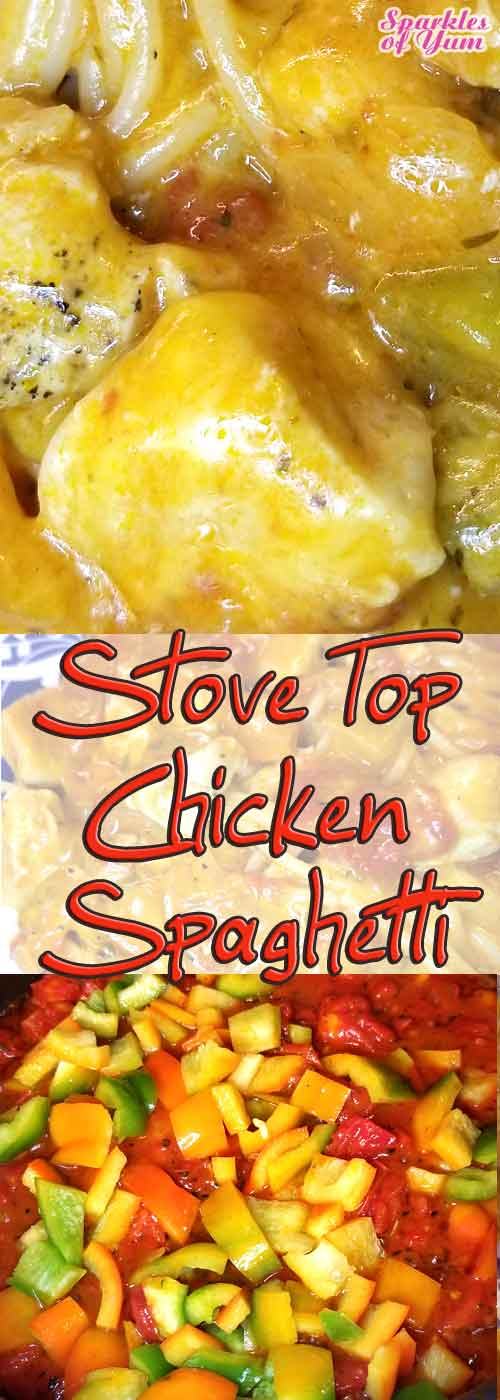 This Stove Top Chicken Spaghetti is the perfect quick, easy, and delish dinner for a weeknight when everyone is on the go. #chicken #spaghetti #dinner