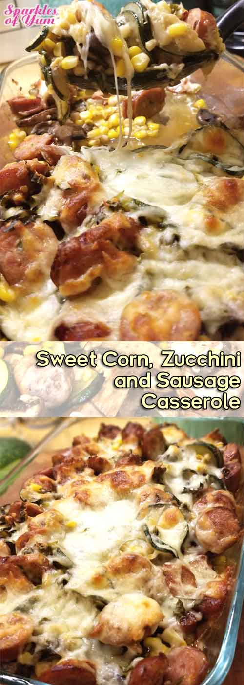 Sweet Corn, Zucchini, & Sausage Casserole - Loaded with fresh veggies, spicy sausage, and then topped off with toasty melty mozzarella. What's not to love about that?
