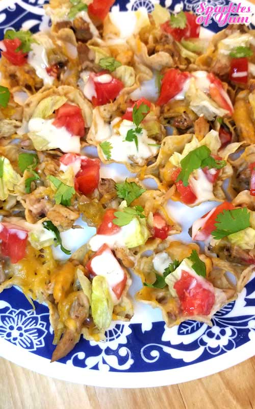Pulled Pork Nacho Bites - No matter what team your cheering for, these little Pulled Pork Nacho Bites will put a smile on everyone's face! #nachos #gameday #pork