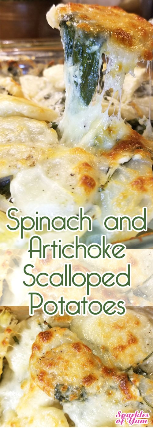 Spinach and Artichoke Scalloped Potatoes - Absolutely delish! So creamy and cheesy. This takes scalloped potatoes to a whole new level. #potatoes #scallopedpotatoes #sidedish