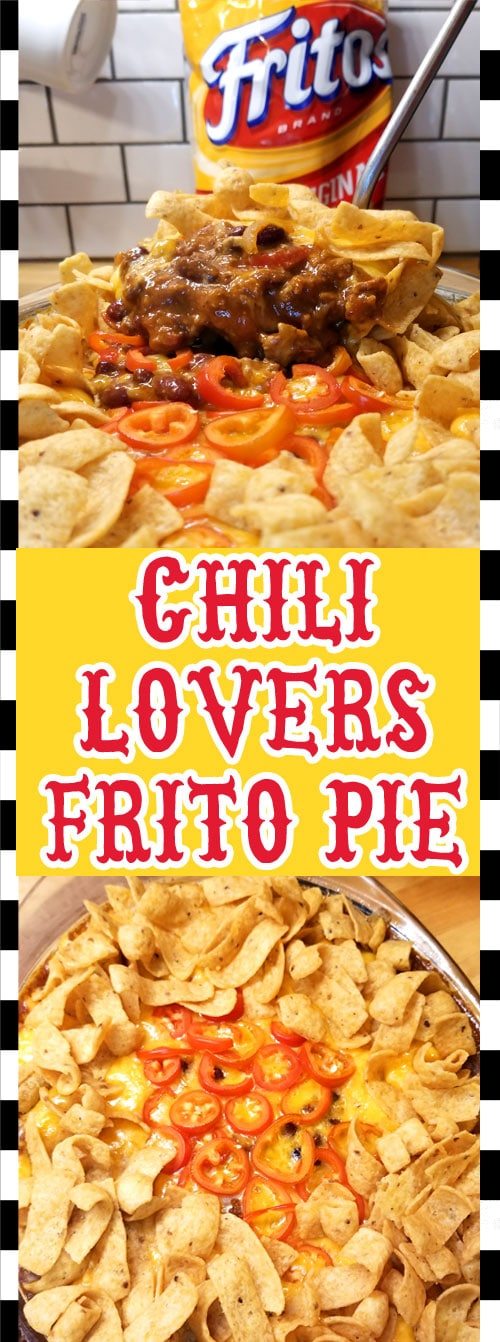 Great for a quick game day treat or an easy weeknight dinner. The perfect follow up after you made a huge pot of chili. And who doesn\'t love themselves some chili?!  #chili #gameday #comfortfood #fritopie #leftoverchili