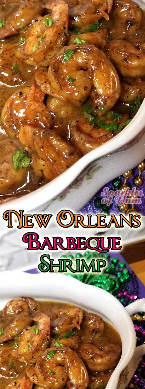 Indulge away with this buttery, creamy, spicy New Orleans Barbeque Shrimp, that has nothing to do with a grill by the way. They do things their own way in New Orleans, and that way is the tasty way! #cajun #shrimp #neworleans #seafood