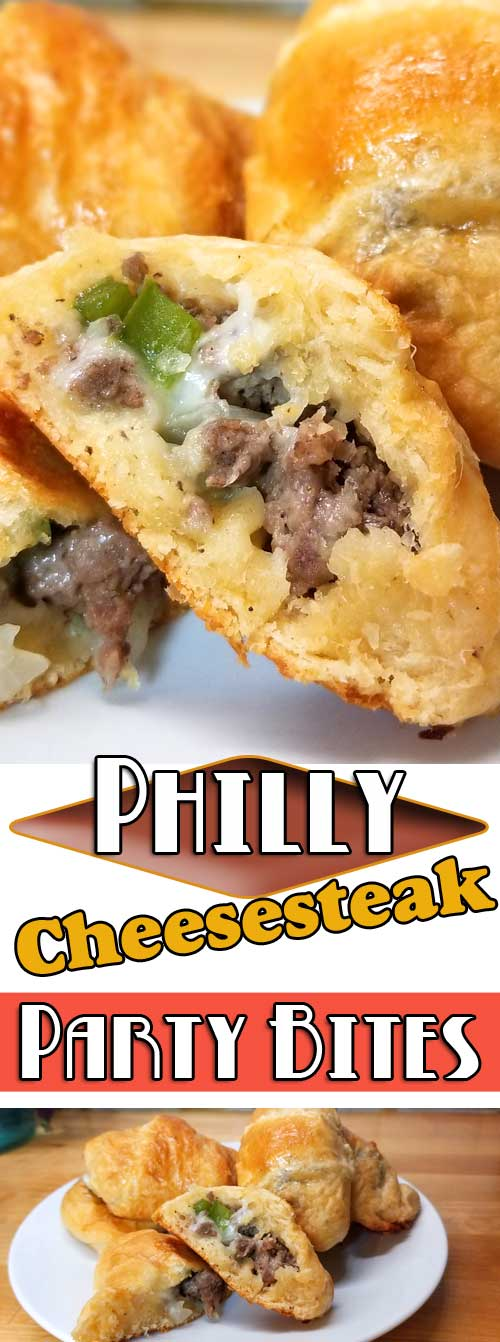 Want something easy and tasty? These little Philly Cheesesteak Party Bites are so yummy. Rolled up little crescent roll pockets filled with cheesy, meaty, and the flaky goodness! Perfect for any gathering. #partyfood #crescentrolls #phillycheese