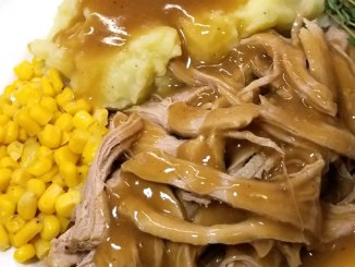 This recipe is great with mashed potatoes, on a sandwich, and just deelish for finger pickin'! Spoon tender and SO tasty! But what set this recipe above the others was the gravy!!!  It is over the moon good! This recipe is a definite keeper.