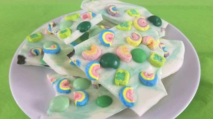 Lucky Charms Minty Rainbow Bark - Sparkles of Yum