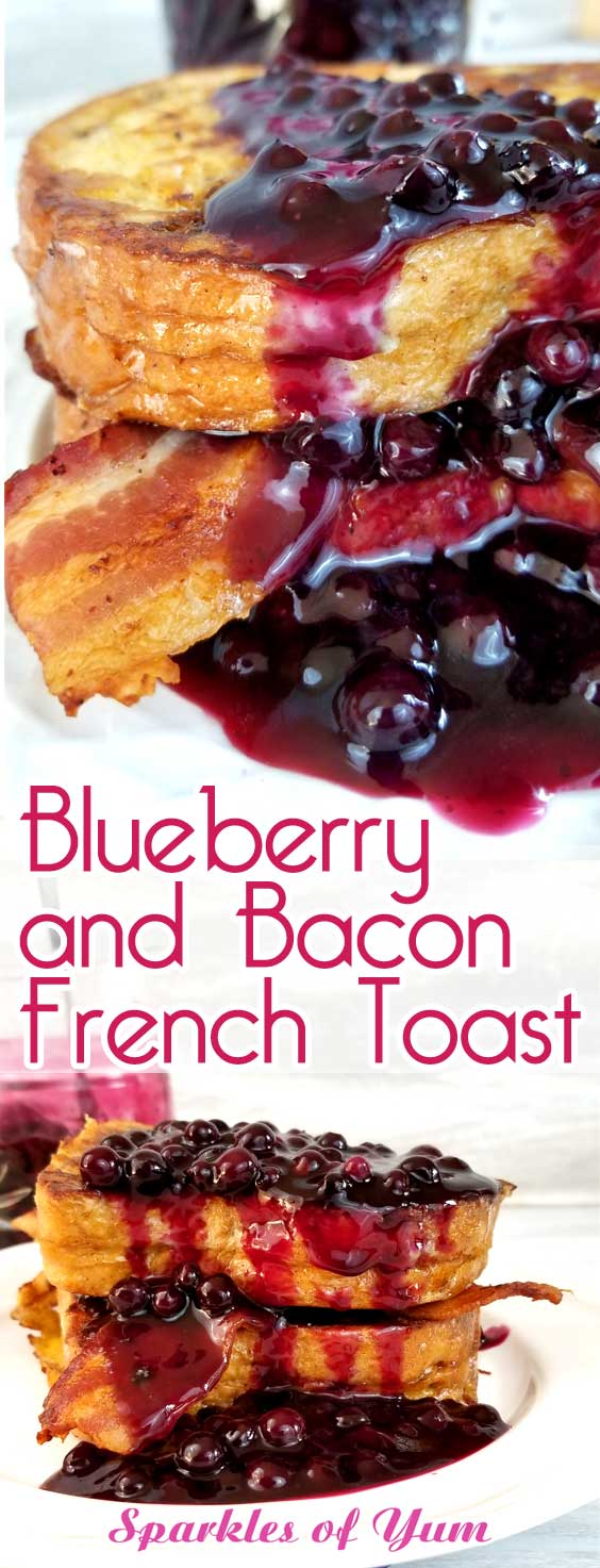 Oh my heavens! Blueberry and Bacon French Toast is my new obsession! Weekend brunch, holiday breakfast or breakfast for dinner, I\'ll take any and all if this is on the table! #blueberries #breakfast #frenchtoast