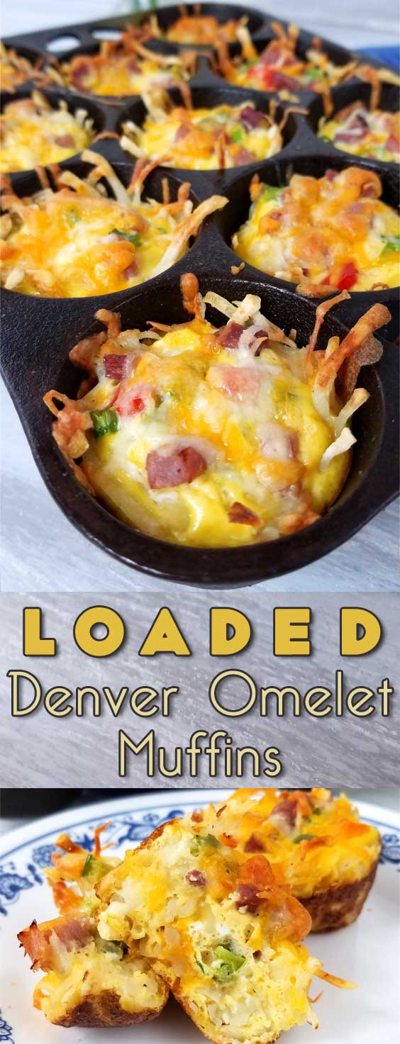 Rise and shine with a plan. A cheesy, crispy Loaded Denver Omelet Muffin plan that is! I\'m loving brunch at home, no waiting in line for a table, just takes a little planning ahead. #breakfast #brunch #easterbrunch