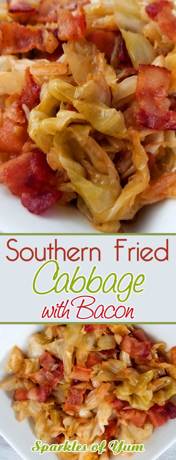 If your a lover of bacon and you like cabbage, you will fall in love with this quick and easy Southern Fried Cabbage! The flavors you get are a natural sweetness that comes together with this simple dish. You\'ll wish you tried it sooner. #sidedish #southernrecipe #friedcabbage #bacon