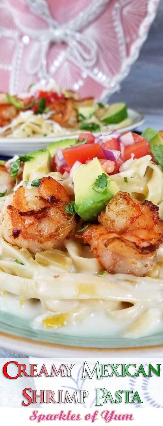 This is a simple, flavorful creation that\'s ready to party on your plate! Creamy cheesy sauce, buttery shrimp, and Pico De Gallo all make this Creamy Mexican Shrimp Pasta Recipe a love fest for your taste buds! #pastarecipe #mexicanrecipe #shrimprecipe #mexicanshrimp