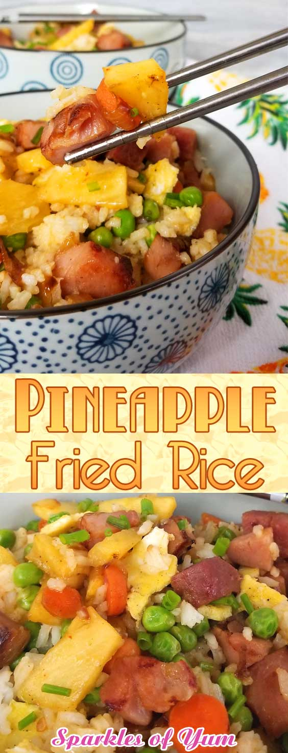 This Pineapple Fried Rice brightened our day with yummy sweet pineapple, salty ham, and all of the fresh veggies coming together to be downright deliciousness! #leftoverham #asianfood #friedrice #dinnerideas