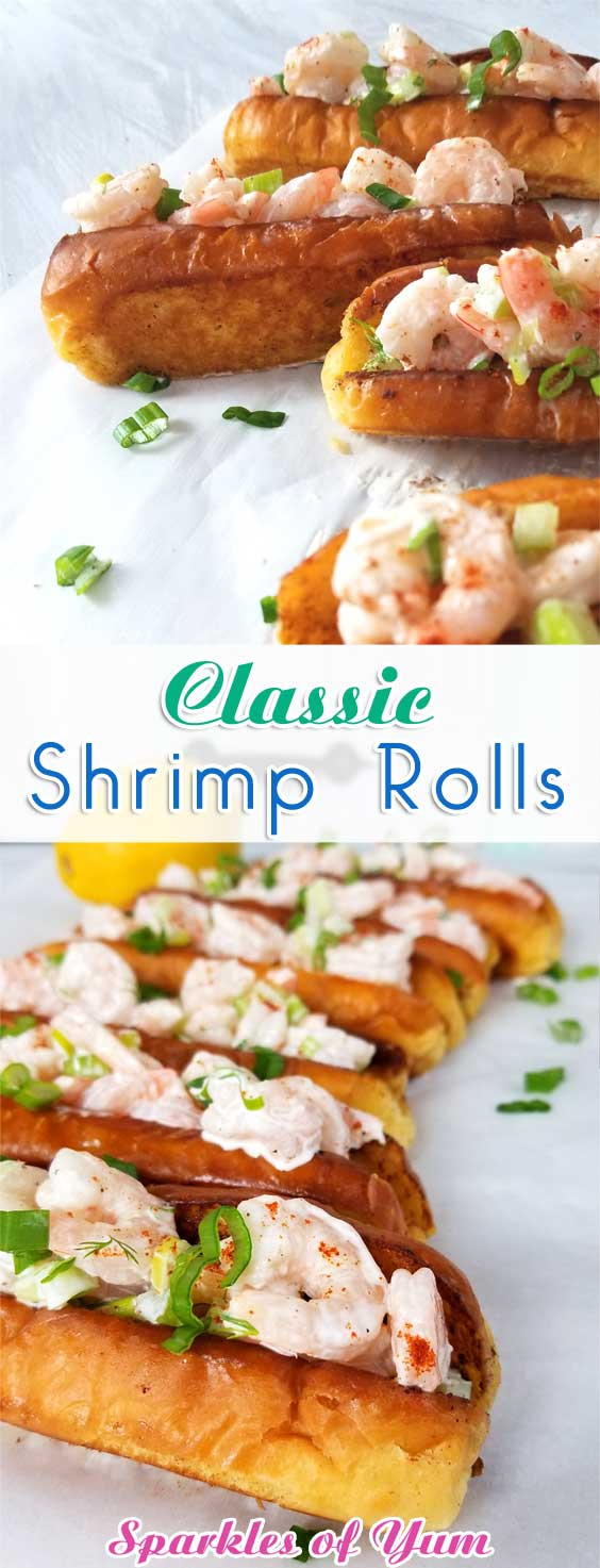 Sweet shrimp slathered in a lemon dill mayo sauce, all jammed into a potato roll. It's like taking your taste buds on a trip to a New England beach, all without leaving town. #shrimprecipe #easyrecipe #simpledish #sandwiches