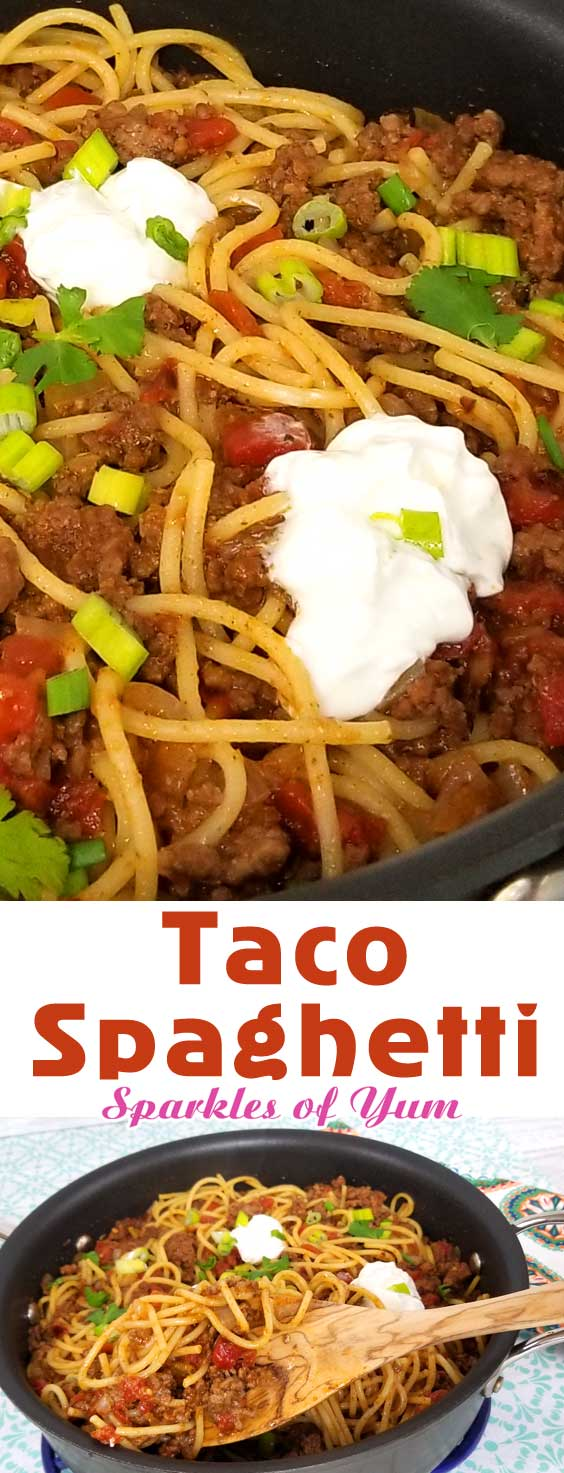 Quick easy and full of flavor, that's what I like for a busy weeknight dinner, and this Taco Spaghetti recipe comes together in under 30 minutes. the perfect no fuss, quick clean up dinner. #dinnerideas #spaghettinight #easydinner