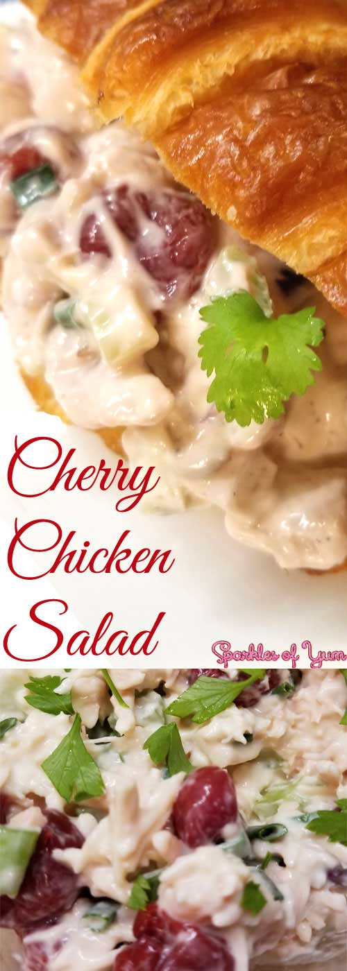 This Cherry Chicken Salad recipe is delicious, easy to make, and perfect for those days when it is just too hot or busy to be bothered with using the stove. #chicken #sandwich #summer #chickensalad