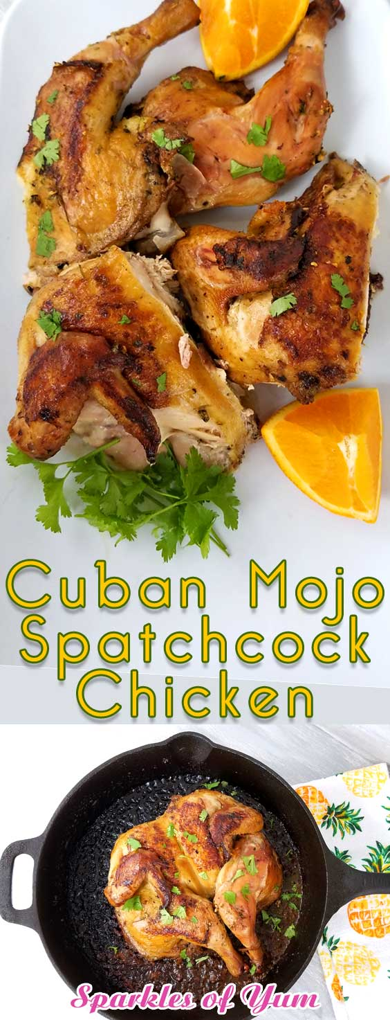 Just the aroma of the ingredients is enough to make your mouth water. Wait till you taste this Cuban Mojo Spatchcock Chicken! All the bold, zesty flavors of summer come together and get trapped within the crispy skin. Plus this chicken stays juicy till the last bite! #grilledchicken #cubanrecipe #chickenrecipe #grilling