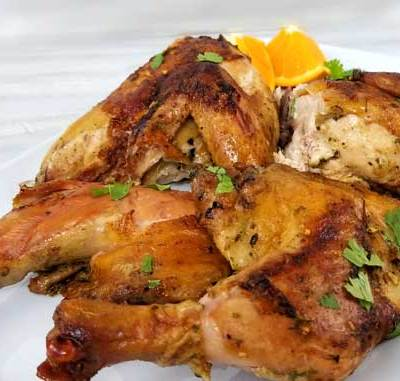Just the aroma of the ingredients is enough to make your mouth water. Wait till you taste this Cuban Mojo Spatchcock Chicken! All the bold, zesty flavors of summer come together and get trapped within the crispy skin. Plus this chicken stays juicy till the last bite!