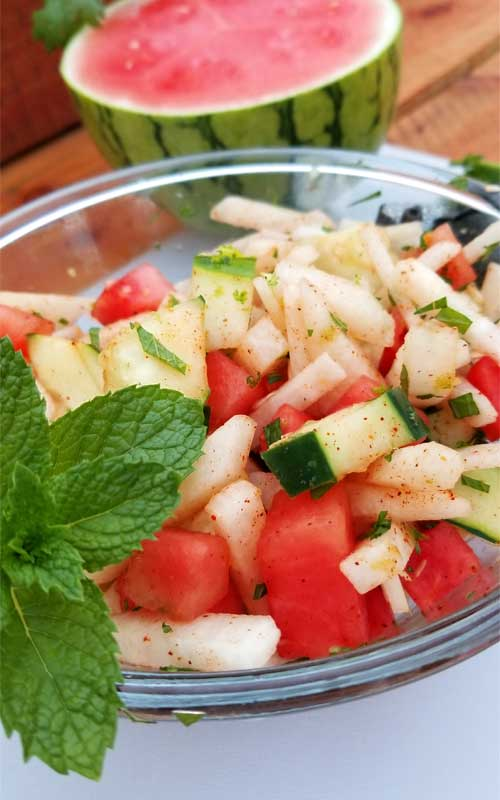 Super healthy, light, and refreshing. This Crunchy Watermelon Jicama & Cucumber Salad is a perfect side dish for a weekend party, or any summer meal for that matter.