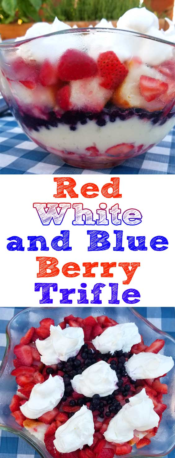 A super simple, super yummy dessert for the 4th of July or any summer get together. You can throw this Red White and Blue Berry Trifle together in not much time at all with just a little chopping and mixing! #summer #dessert #strawberry #blueberry #cake #4thofjuly #julyfourth #nobake