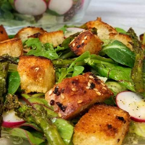 Panzanella Salad with Everything Garlic Bread & Lemon Dijon Dressing