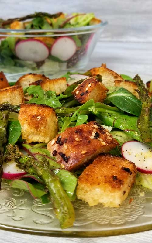 "What better way to get your dark leafy greens than in an awesome, fresh from the garden, summer, Panzanella Salad with ""Everything"" Garlic Bread and a zesty Lemon Dijon Dressing. It was deee-lish!"