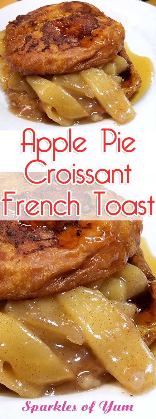 Apple Pie Croissant French Toast - Decadently delicious Apple Pie Croissant French Toast, is pure buttery goodness filled with tender fried cinnamon apples, perfect for a fall brunch or special holiday breakfast. #breakfast #apple #croissant #frenchtoast