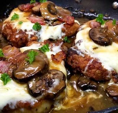 Fontina Pork Chops with Marsala Mushroom Gravy
