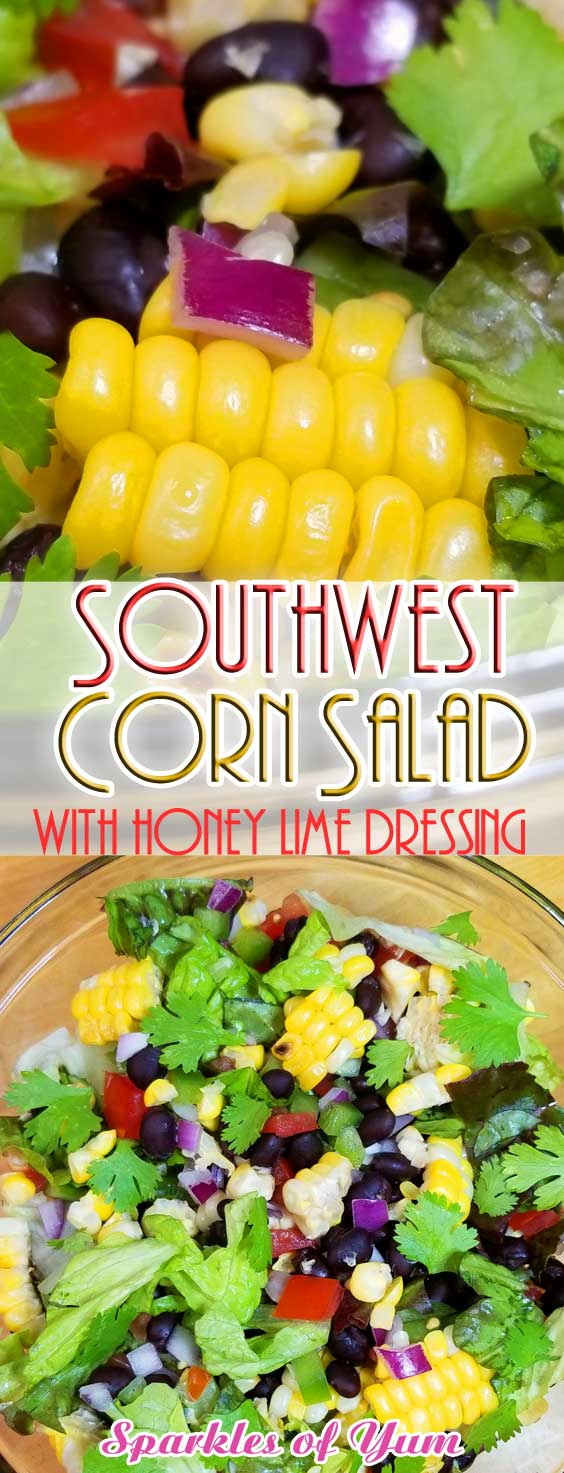 Farm fresh sweet corn is the star of this Southwest Corn Salad with Honey Lime Dressing. It has so much flavor and crunchy goodness from all the veggies plus it super nutritious! #salad #corn #southwest #healthy #gf #vegan