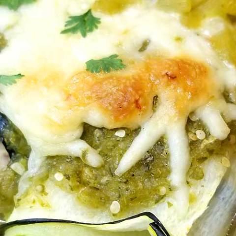Salsa Verde Chicken Zucchini Enchiladas