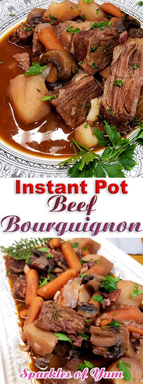 Instant Pot Beef Bourguignon - No knife needed, spoon tender, and so much flavor. You can\'t go wrong with this Instant Pot Beef Bourguignon, and it\'s EASY. #instantpot #beef #dinnerideas #frenchcooking #juliachild