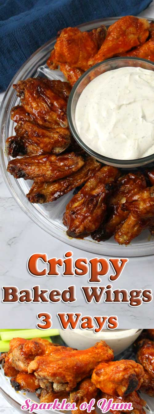 This recipe for Crispy Baked Wings 3 Ways will be sure to win over your game day crowd by giving them enough choices to please any palette. #chicken #wings #buffalo #bbq #korean #tailgating #biggame