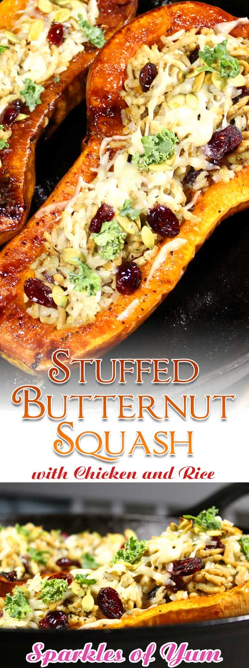 This Stuffed Butternut Squash with Chicken and Rice is a great healthy fall dinner. Delicious and easy to prepare with all the savory flavors of fall. #squash #chicken #dinnerideas #fall #butternut