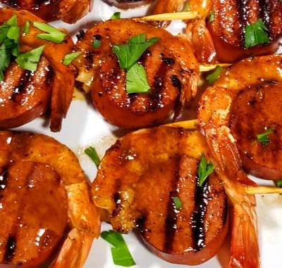Glazed New Orleans BBQ Shrimp & Sausage Kabobs