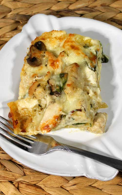 This Extra Creamy Chicken Alfredo Lasagna is not your average Chicken Alfredo Lasagna. It's extra rich and creamy with an easy home made Ricotta Alfredo Sauce. It is everything I crave in comfort food!