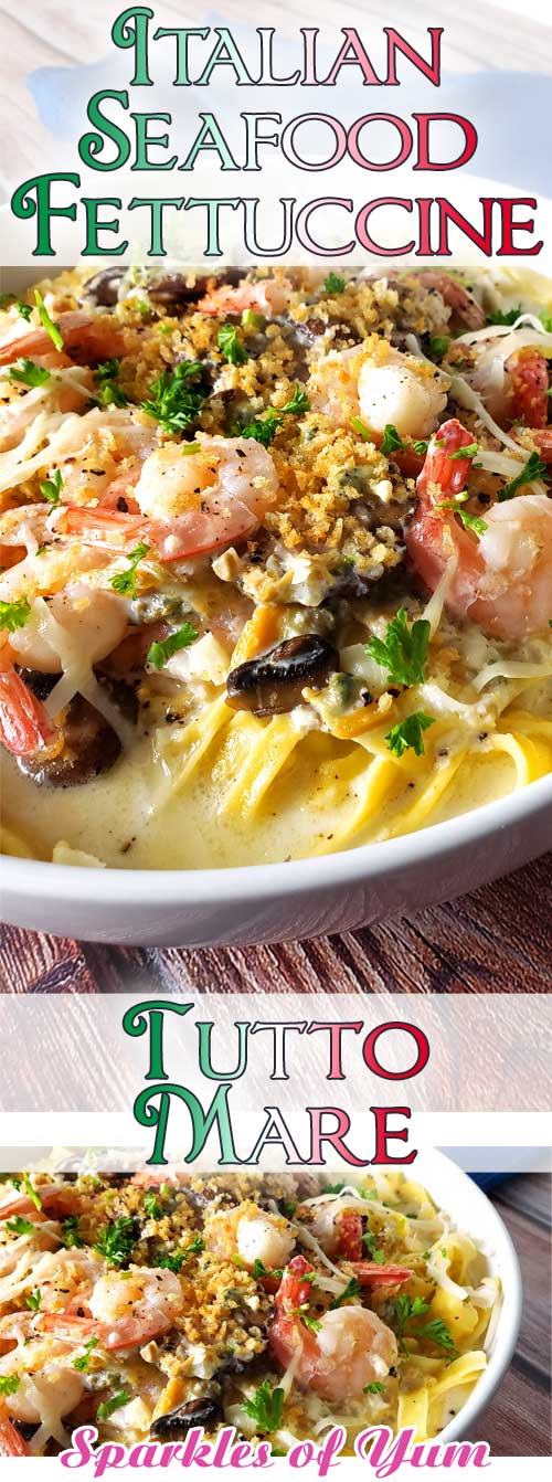 When shrimp, crab, clams, and mushrooms come together in a luscious creamy, cheesy garlic sauce over fresh pasta, you get this delectable Seafood Alfredo Fettuccine! #Italian #pasta #seafood #dinnerideas