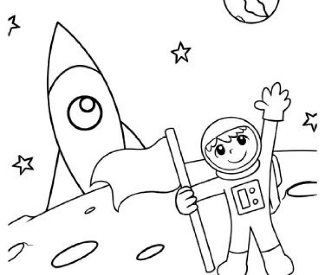 Moon Landing Astronaut Coloring Page Sparkling Minds