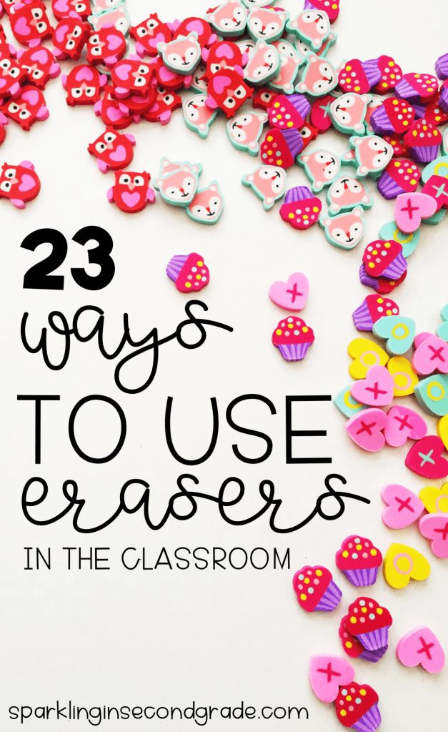 23 educational ideas for Target Dollar Spot erasers. Ideas on how to use them as manipulatives in math, writing, reading, and language.