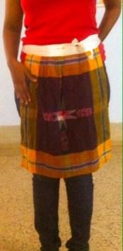 Orange ikat rumal apron