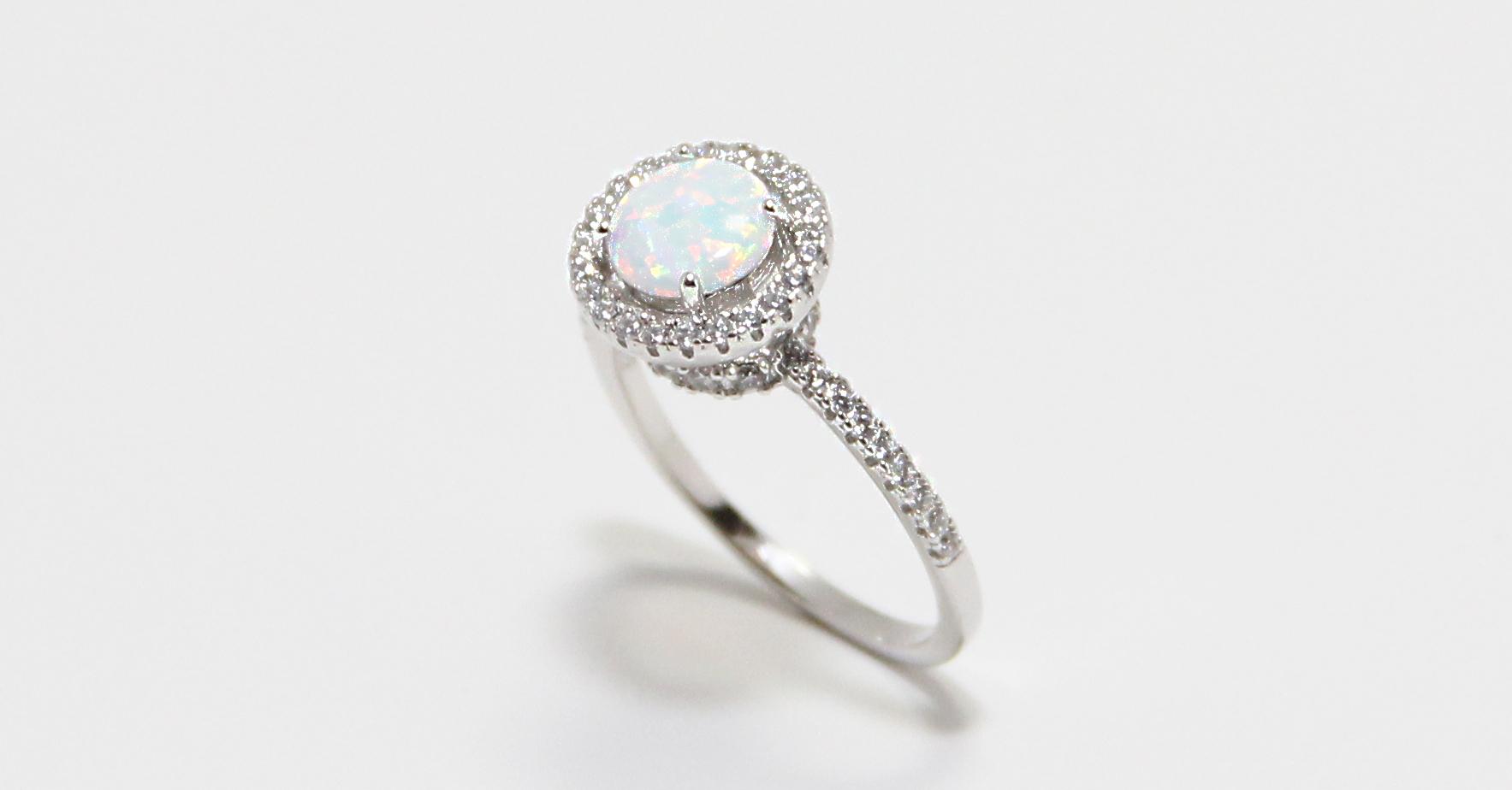 Sterling Silver Opal Halo Ring SBGR01028
