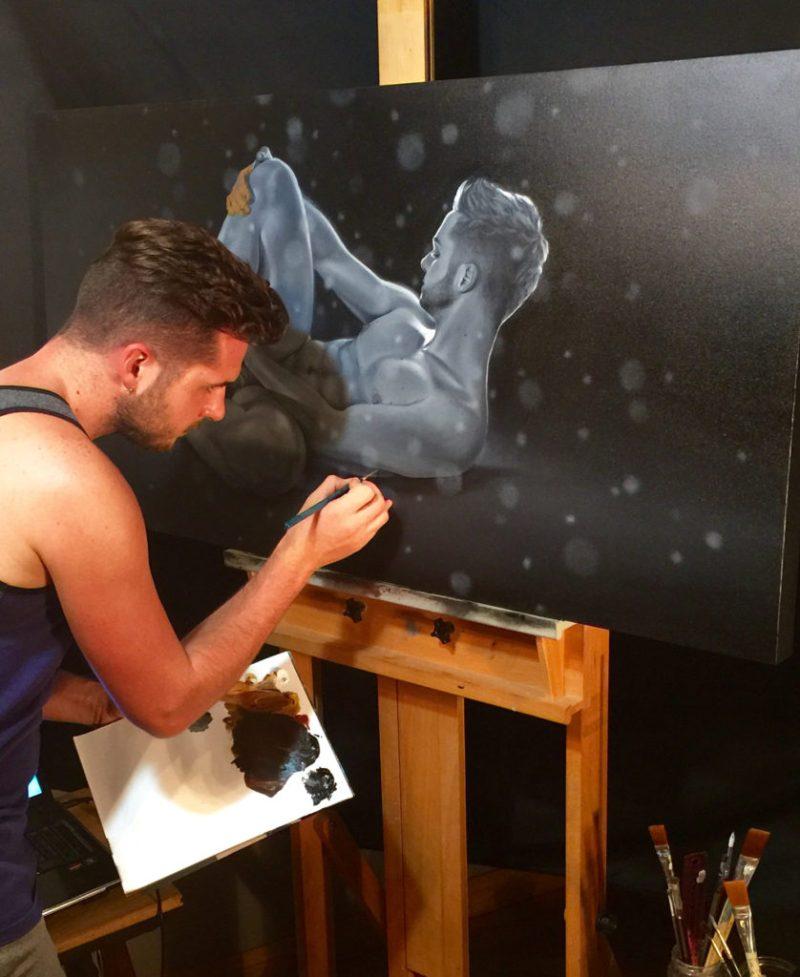 Kyle Trudelle working on self-porait