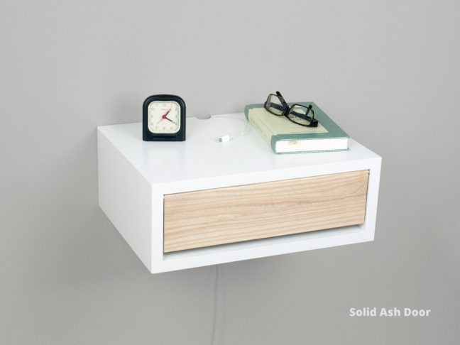 Modern Floating Nightstand White Shelf Wood Door
