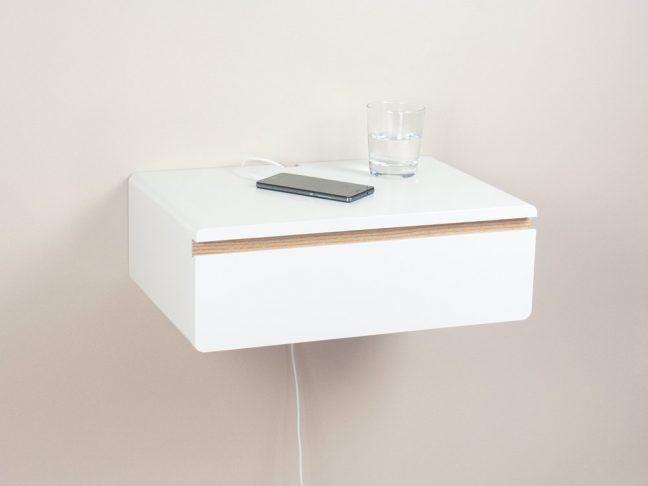 white floating nightstand drawer, white bedside table, wall mount night stand