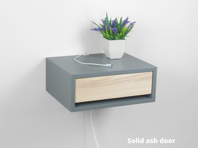 Contemporary gray floating nightstand bedside table for Floating nightstand