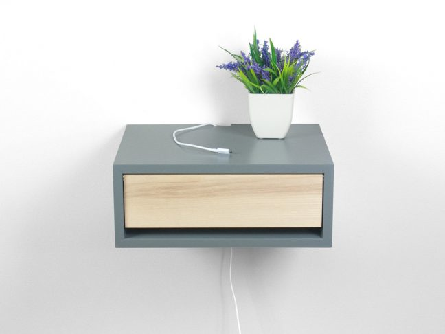 Devon Gray Floating Nightstand with Door, Floating Bedside Table, Wall Mount Contemporary Nightstand, Side Table