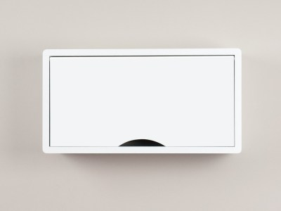 Denali White Floating Cabinet, Modern Wall Mount Storage Shelf