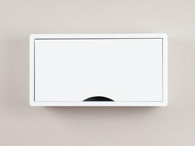 Denali White Floating Cabinet, Modern Wall Mount Storage Shelf
