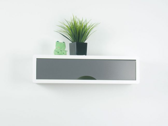 contemporary floating shelf, white wall cabinets gray